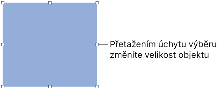 Objekt, který má po obvodu bílé čtverečky pro změnu velikosti