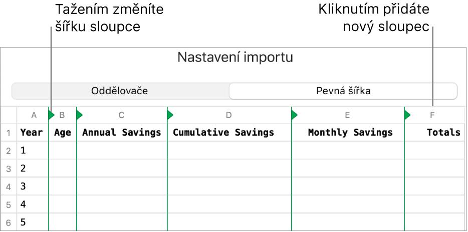Nastavení importu pro text spevnou šířkou.
