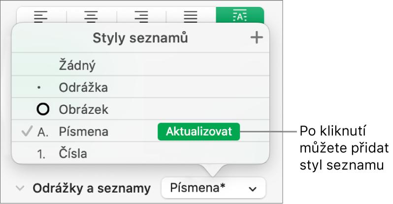 Místní nabídka Styly seznamů stlačítkem Aktualizovat unázvu nového stylu