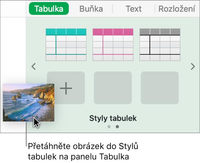 Vytvoření nového stylu přetáhnutím obrázku mezi styly tabulek.