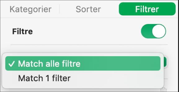 Lokalmenuen, hvor du kan vælge mellem at vise rækker, der opfylder alle filtre eller nogle af dem.