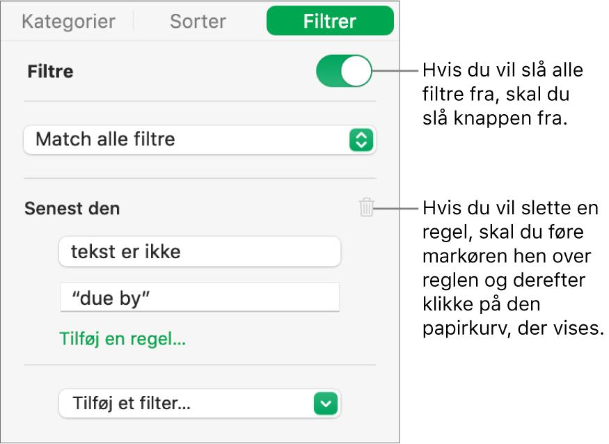 Betjeningsmuligheder til sletning af et filter eller til at slå alle filtre fra.