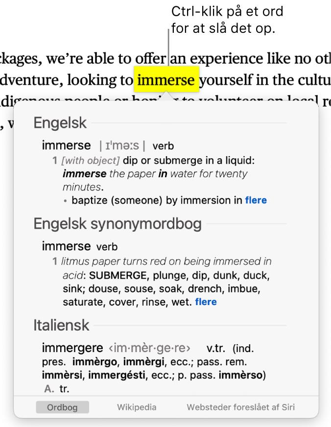 Tekst med et markeret ord og et vindue, der viser ordets definition og en indgang fra en synonymordbog. Tre knapper nederst i vinduet er links til ordbogen, Wikipedia og websteder foreslået af Siri.