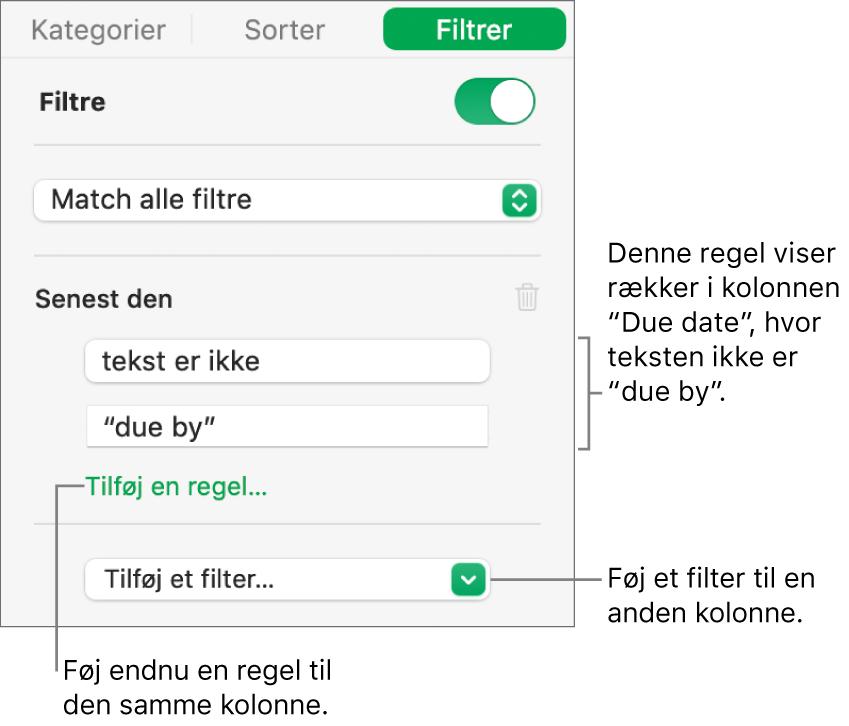 Betjeningsmuligheder til oprettelse af filtreringsregler.