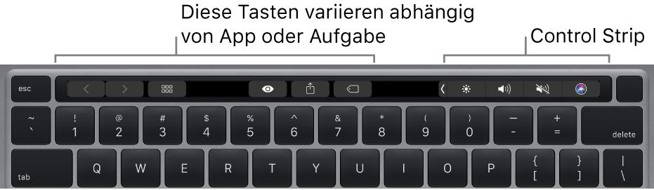 Eine Tastatur mit der Touch Bar über den Zifferntasten. Tasten zum Ändern von Text befinden sich links und in der Mitte. Im Control Strip rechts befinden sich die Systemsteuerungen für Helligkeit, Lautstärke und Siri.
