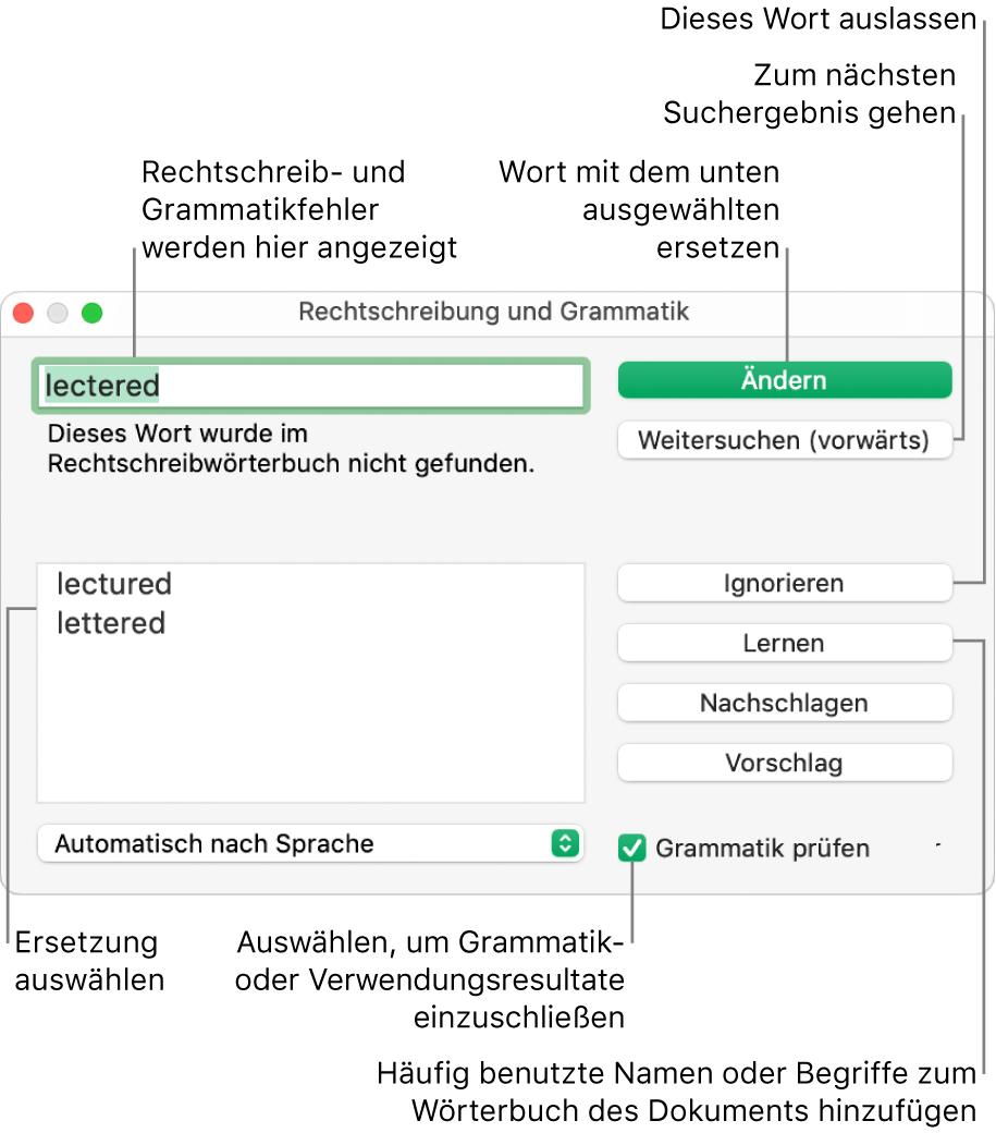 """Das Fenster """"Rechtschreibung und Grammatik"""""""