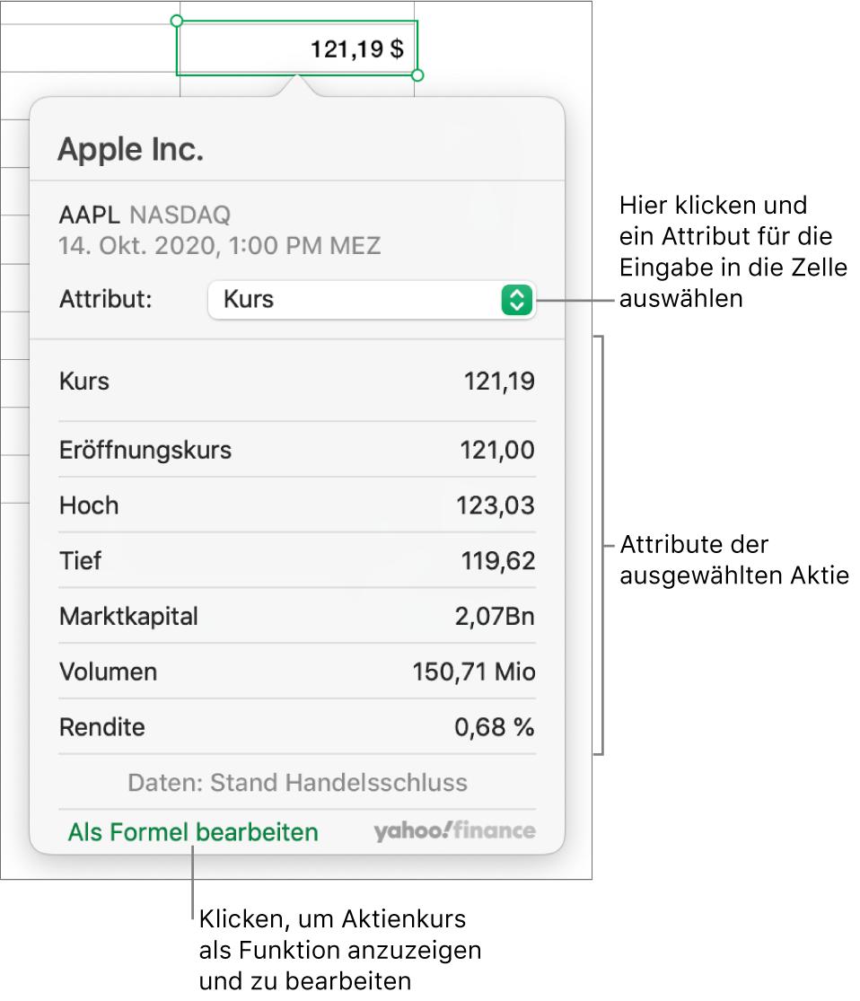 """Das Dialogfenster zum Eingeben von Informationen zu Aktienattributen, in dem """"Apple"""" die ausgewählte Aktie ist."""