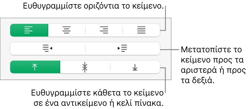 Η ενότητα «Στοίχιση» της πλαϊνής στήλης «Μορφή» με επεξηγήσεις στα κουμπιά στοίχισης και απόστασης κειμένου.