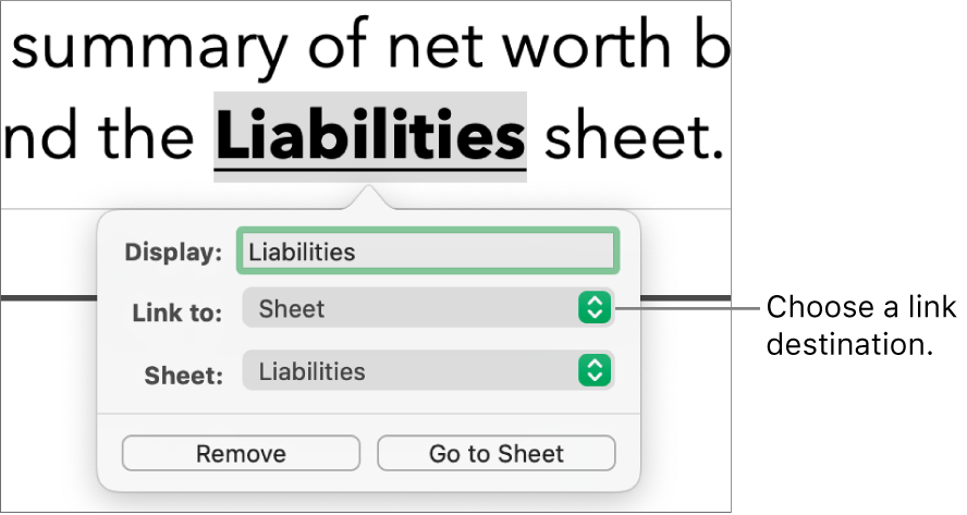 """The link editor controls with a Display field, """"Link to"""" pop-up menu (Sheet is selected) and Sheet pop-up menu (a sheet named Liabilities is selected). The Remove and Go to Sheet buttons are at the bottom of the pop-over."""