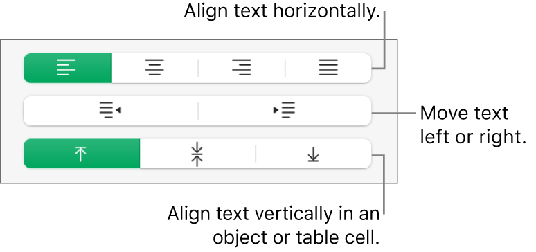 The Alignment section showing buttons for aligning text horizontally, moving text left or right, and aligning text vertically.