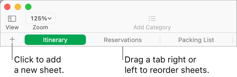 The tab bar for adding a new sheet and reorganising sheets.