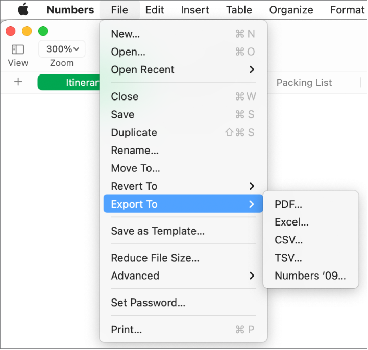 The File menu open with Export To selected, with its submenu showing export options for PDF, Excel, CSV, and Numbers '09.