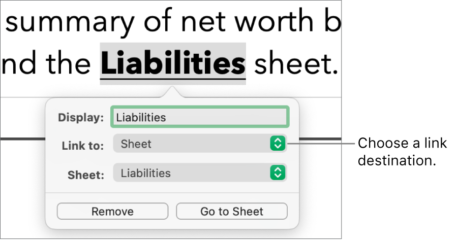 """The link editor controls with a Display field, """"Link to"""" pop-up menu (Sheet is selected), and Sheet pop-up menu (a sheet named Liabilities is selected). The Remove and Go to Sheet buttons are at the bottom of the pop-over."""