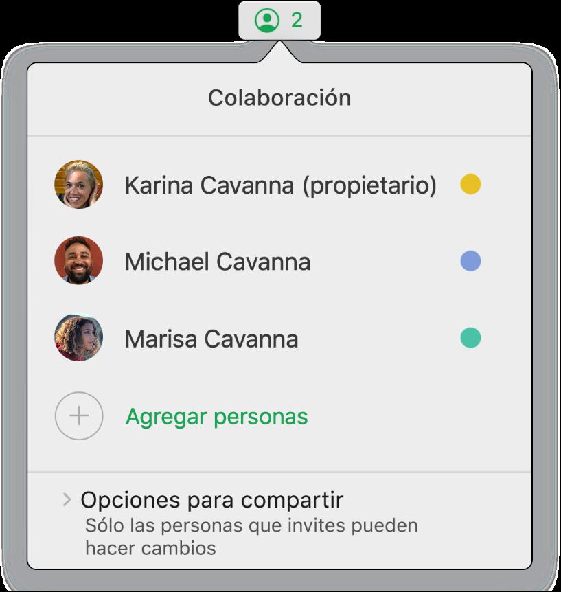 El menú Colaboración mostrando los nombres de las personas que colaboran en la hoja de cálculo. Las opciones para compartir se sitúan debajo de los nombres.