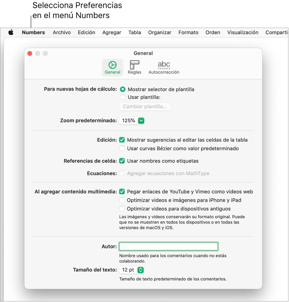 El cuadro de diálogo Preferencias de Numbers con el panel de configuración General.