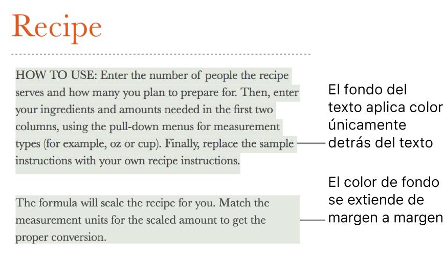 Un párrafo con color únicamente detrás del texto y un segundo párrafo con color por detrás que se extiende de margen a margen en un bloque.