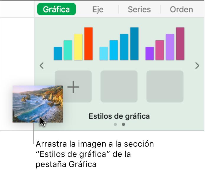 Arrastrar una imagen hasta la sección de estilos de gráfica de la barra lateral para crear un nuevo estilo.