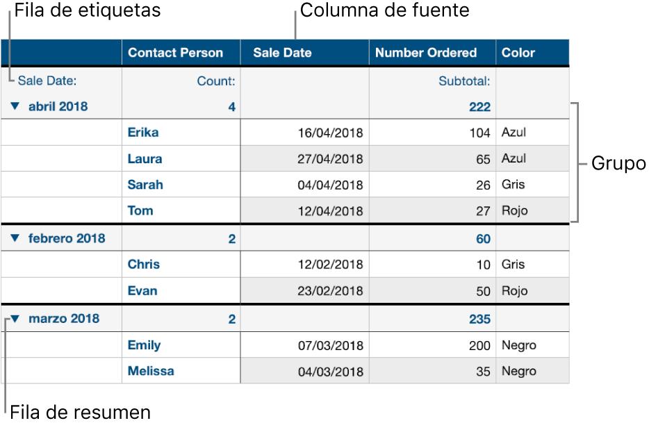 Una tabla categorizada mostrando la columna origen, los grupos, la fila resumen y la fila etiqueta.