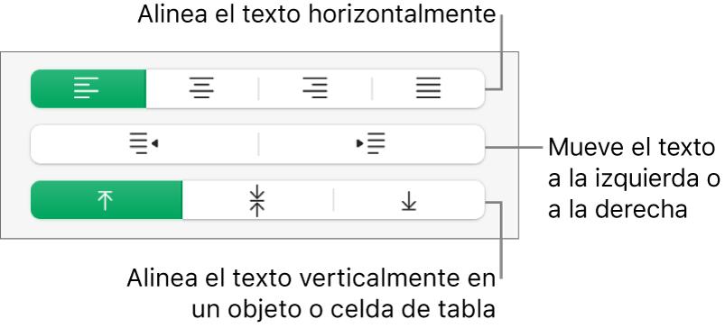 Sección Alineación con botones para alinear el texto horizontalmente, mover el texto hacia la izquierda o hacia la derecha, y alinear el texto verticalmente.