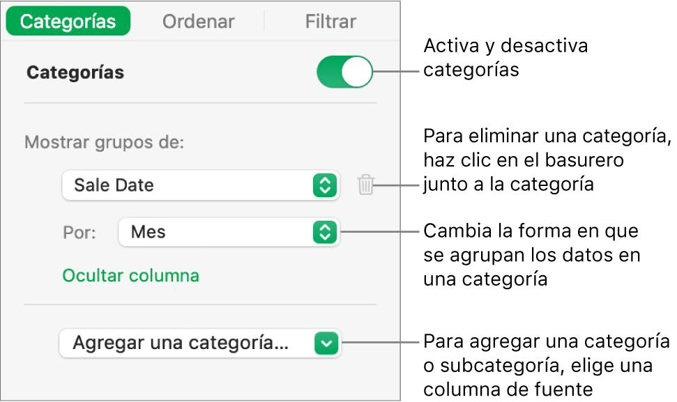 La barra lateral de categorías con opciones para desactivar las categorías, eliminar categorías, reagrupar datos, ocultar una columna origen y agregar categorías.