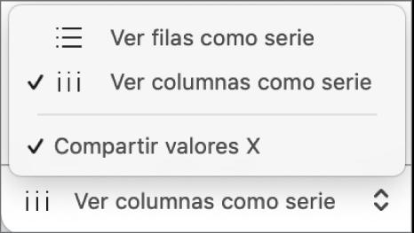 Menú desplegable para seleccionar si las filas o las columnas se representan como series.