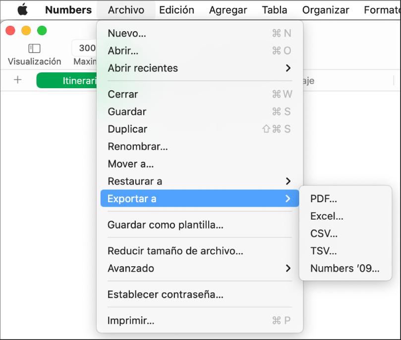 """El menú Archivo abierto con la opción """"Exportar a"""" seleccionada y con el submenú donde se muestran las opciones de exportación a PDF, Excel, CSV y Numbers'09."""