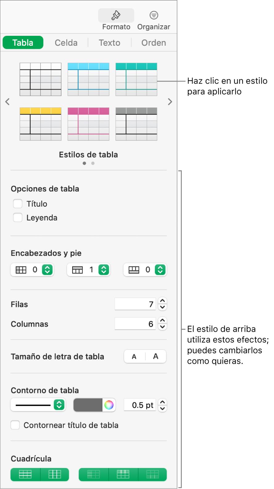 La barra lateral Formato con estilos de tabla y opciones de formato.