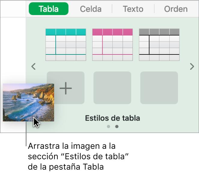 Al arrastrar una imagen hasta los estilos de tabla se crea un nuevo estilo.