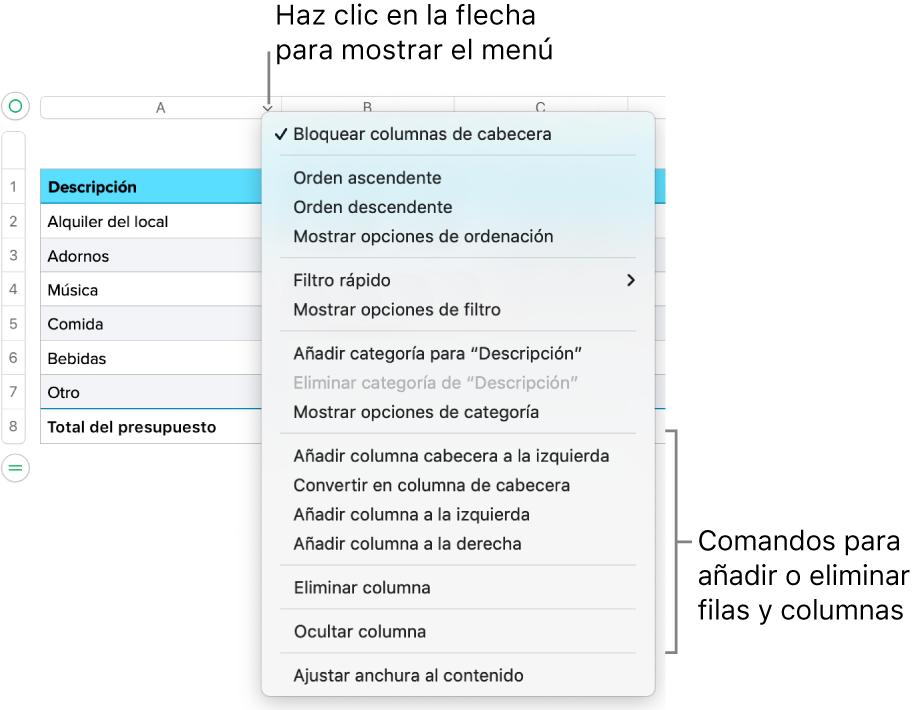 El menú de columna de tabla con comandos para añadir o eliminar filas y columnas.