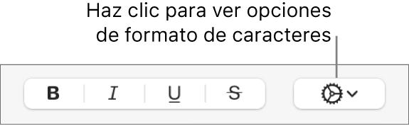"""El botón """"Opciones avanzadas"""" junto a los botones Negrita, Cursiva y Subrayado."""