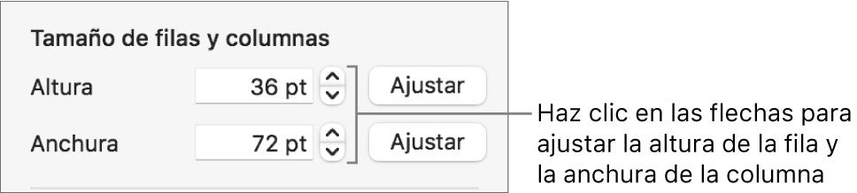 Los controles para ajustar un tamaño de fila o columna preciso.