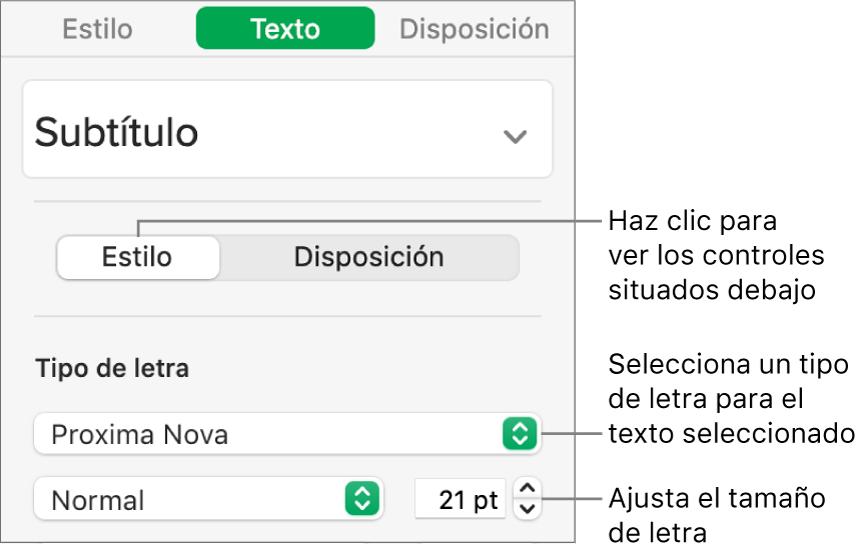 Controles de texto de la sección Estilo de la barra lateral Formato para ajustar el tamaño y el tipo de letra.