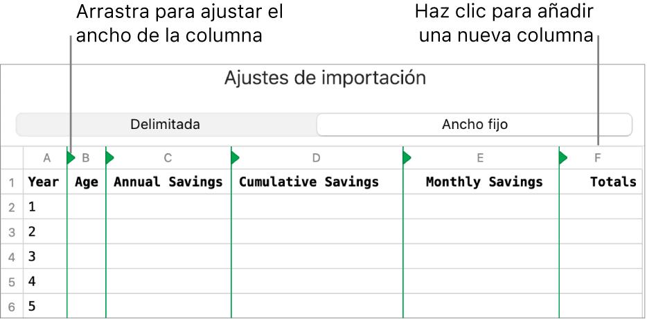 Los ajustes de importación de un archivo de texto de ancho fijo.