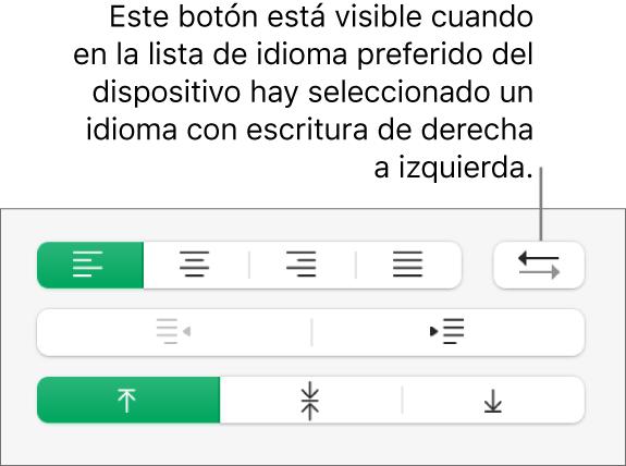 Botón de dirección de párrafo de la sección Alineación de la barra lateral Formato.