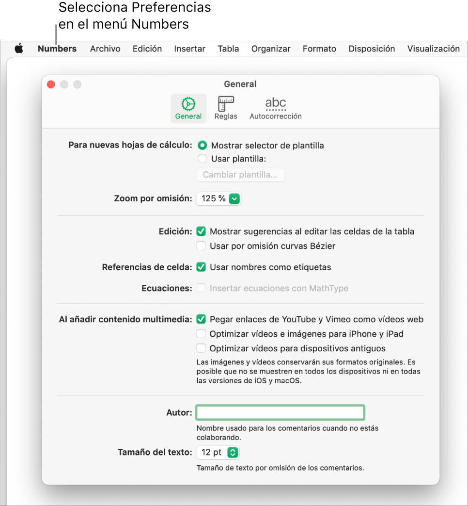 El cuadro de diálogo Preferencias de Numbers con el panel de ajustes General.