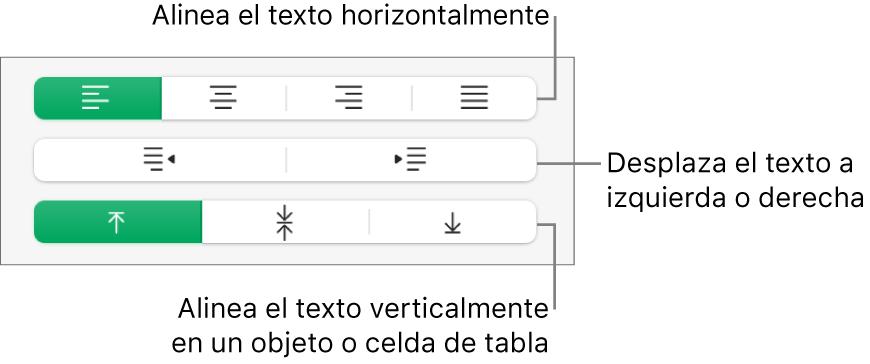 Sección Alineación de la barra lateral Formato con llamadas a los botones de alineación de texto.