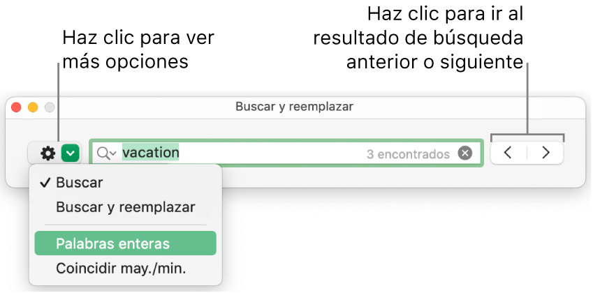 """La ventana """"Buscar y reemplazar"""" con una llamada al botón para mostrar más opciones, correspondientes a Buscar, """"Buscar y reemplazar"""", Reemplazar, """"Palabras enteras"""" y """"Coincidir may./min."""". Las flechas de la derecha le permiten ir a los resultados de búsqueda anteriores o siguientes."""