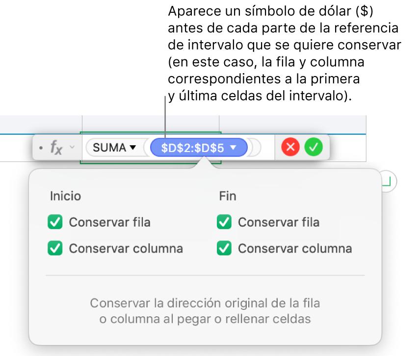 Fórmula mostrando las referencias de fila y columna conservadas.