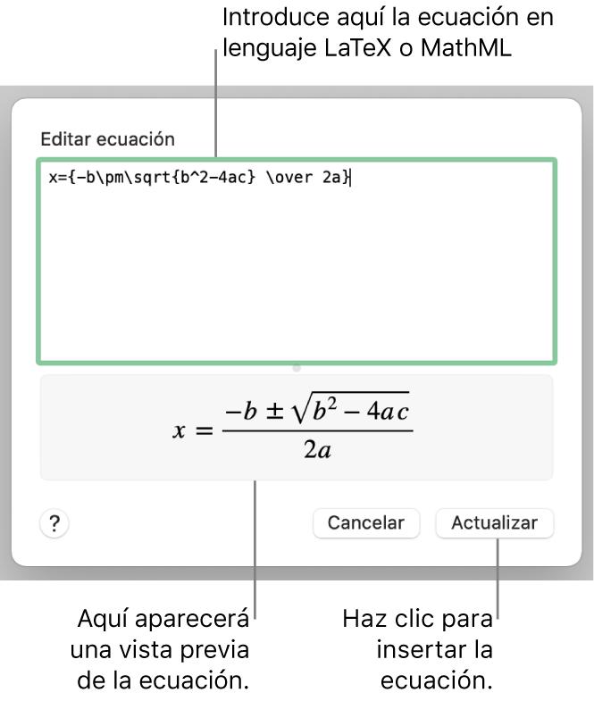 """El diálogo """"Editar ecuación"""" con la fórmula cuadrática escrita con LaTeX en el campo """"Editar ecuación"""" y una previsualización de la fórmula a continuación."""