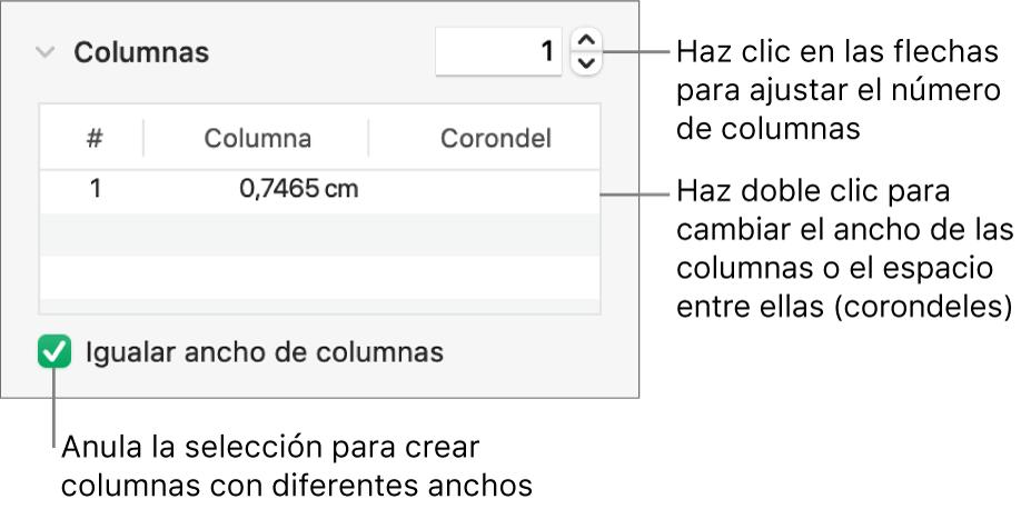 Controles de la sección de columnas para cambiar el número de columnas y la anchura de cada columna.
