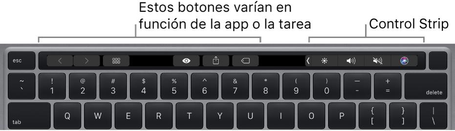 Un teclado con la Touch Bar encima de las teclas numéricas. Los botones para modificar el texto se sitúan a la derecha y en el medio. Control Strip, a la derecha, incluye controles del sistema para controlar el brillo, el volumen y Siri.