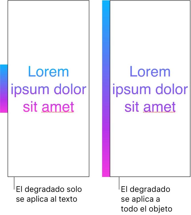 Ejemplos de visualización al lado de otra. El primer ejemplo muestra texto con el degradado aplicado solo al texto, de manera que en el texto se ve todo el espectro de color. El segundo ejemplo presenta texto con el degradado aplicado a todo el objeto, de forma que en el texto solo se ve parte del espectro de color.