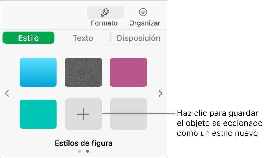 """La ficha Estilo de la barra lateral Formato con cuatro estilos de imagen, el botón """"Crear estilo"""" y un marcador de posición de estilo vacío."""