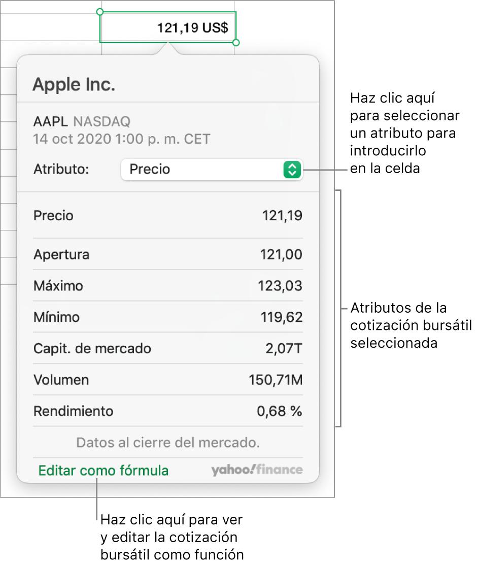 El diálogo para introducir la información de atributo de acción con la acción de Apple seleccionada.