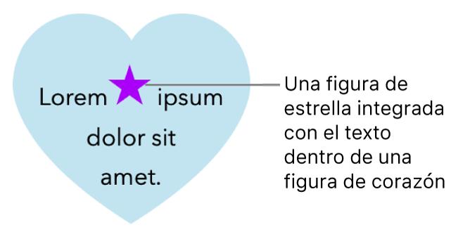 Una figura de estrella aparece integrada en texto situado en el interior de una figura de corazón.