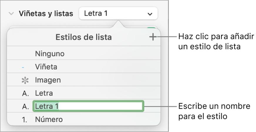 """El menú desplegable """"Estilos de lista"""" con el botón Añadir en la esquina superior derecha y un marcador de posición de nombre de estilo con su texto seleccionado."""
