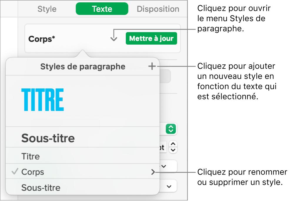 Le menu «Styles de paragraphe», affichant des commandes pour ajouter ou modifier un style.
