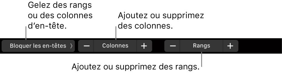 La TouchBar d'un MacBookPro avec les commandes pour bloquer des rangs ou colonnes d'en-têtes, ajouter ou supprimer des colonnes et ajouter ou supprimer des rangs.