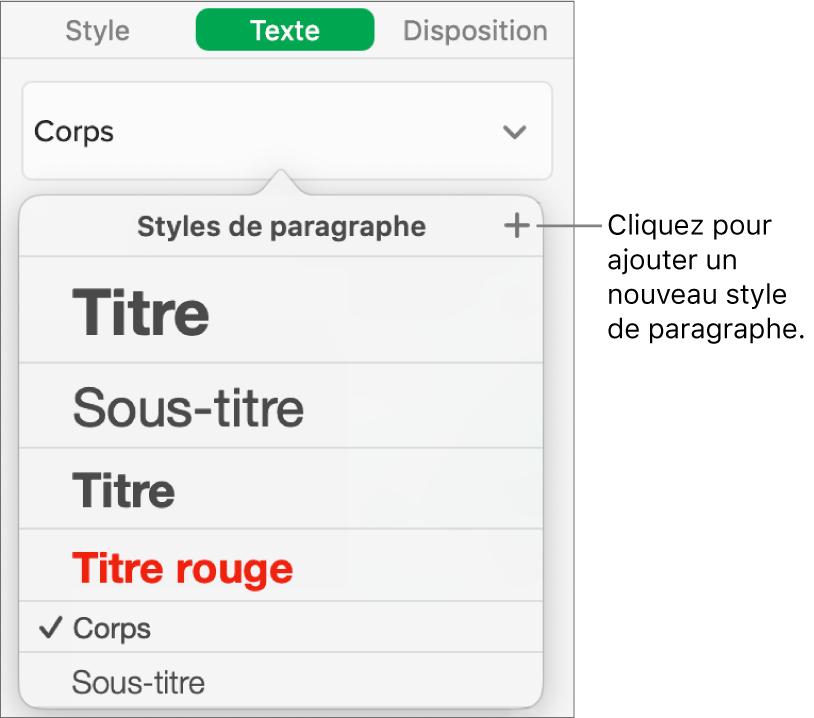 Zone de dialogue permettant de créer un nouveau style de paragraphe.