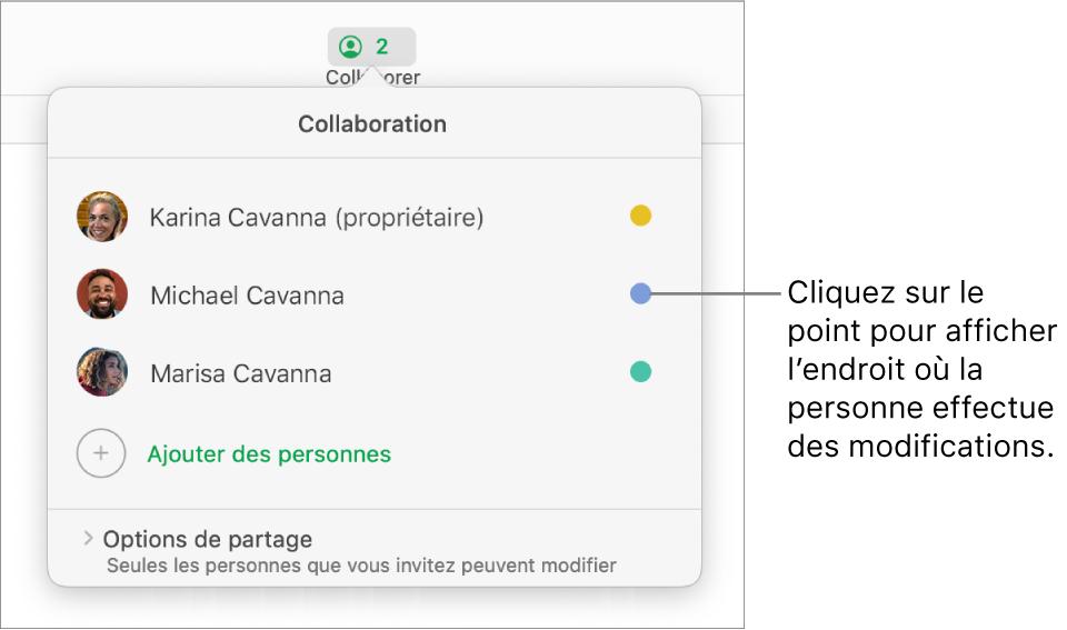 La liste des participants avec trois participants et un point de couleur différent à droite du nom de chacun d'eux.